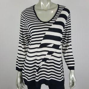 Cable & Gauge Lightning Bolt Stripe Sweater XL